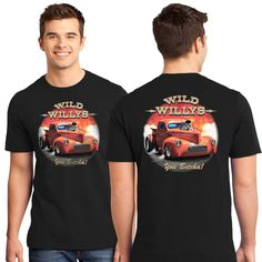 1941 Willys Pickup Nostalgia Drag Racing Hot Rod T Shirt Design on Front & Back #PitStopShirtShop #GraphicTee