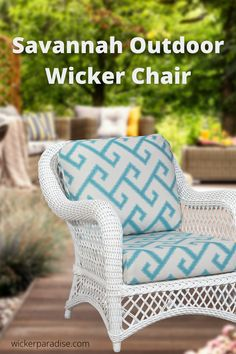 Outdoor Wicker Furniture | Chair Meet the newest member of your outdoor wicker furniture living family! Designed to be challenged by the harshest of weather conditions. A fresh and appealing look for those who enjoy the outdoor furniture seating experience. The perfect outdoor wicker furniture with traditional styling. You will love our Savannah outdoor wicker chair!