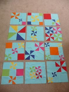 Pinwheel Party Blocks made by my Modern Quilting Bee ladies | Flickr - Photo Sharing!
