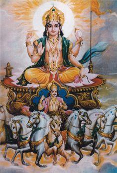 Surya the Sun God Krishna Drawing, Krishna Art, Indian Goddess, Durga Goddess, Seven Horses Painting, Krishna Avatar, Indiana, Lord Hanuman Wallpapers, Photo Art Gallery