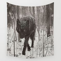 Snow Wolf Wall Tapestry by Rachel Lauren