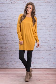 """""""Long Dolman Sleeve Jersey Knit Tunic - Mustard"""" You really have to see this tunic for yourself! It's perfect! The color is perfect for fall! It reminds us of falling leaves!! The dolman sleeves really give it that extra bit of comfort that we all need in our lives!  #newarrivals #shopthemint"""
