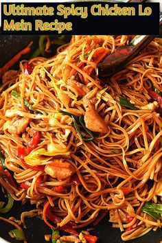 What is the difference between Lo Mein and Chow mein  I have found two differences in these dishes.Whenever I have ordered and eaten either of Lo Mein or Chow mein is that chow mein is mostly cooked with thin and fried noodles and in Lo Mein the noodles are slightly thick and chewy.  Another one is that in Lo Mein the noodles are cooked/boiled in water then tossed along with vegetables,proteins and sauces to be served Sweet Fire Chicken, Easy Chicken And Rice, Best Chicken Recipes, Asian Recipes, Spicy Chicken Lo Mein Recipe, Popular Chinese Food, Food Network Recipes, Cooking Recipes, Takeout Restaurant