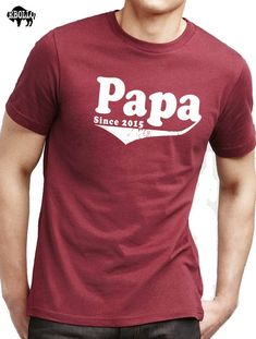Father's Day Gift Papa Since 2015 Mens T shirt Husband by ebollo