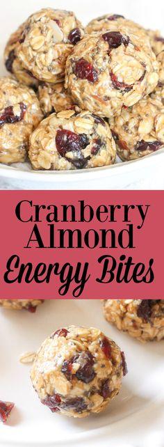 Cranberry Almond Energy Bites// Kathryn's Kitchen Blog