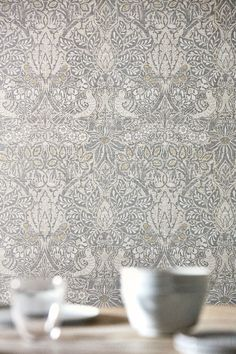 Pure Dove and Rose by Morris - Cloud Grey - Wallpaper : Wallpaper Direct Grey Kitchen Wallpaper, Grey Wallpaper Living Room, Hallway Wallpaper, Accent Wallpaper, Print Wallpaper, Grey Wallpaper For Walls, Geometric Wallpaper Grey, Harlequin Wallpaper, Damask Wallpaper