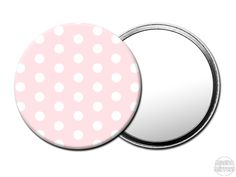 M039 Magoo Pink Polka Dot Handbag Mirror.  Cute little pocket mirrors to keep in your handbag. Gift idea for women. Click on the images to purchase.