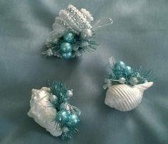 Black Friday Sale 3 Aqua & Silver Seashell Christmas Tree