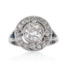 Ross-Simons - C. 1915 Vintage 2.44 ct. t.w. Diamond Ring With Faux Sapphires In Platinum. Size 8 - #786063