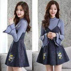Sweet embroidering condole belt horn sleeve dress two-piece set SE10803      Coupon code #cutekawaii for 10% off