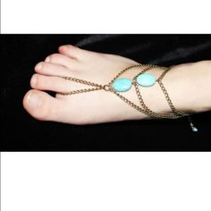 5 for $10/10 for $20   boho ANKLET Gold tone w faux turquoise stones Jewelry Bracelets
