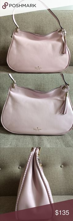 "!!PRICEDROP!! Kate Spade hobo bag in pink blush This is a spring 2017 market sample from Kate Spade New York. It's a medium sized hobo shoulder style bag with sample tags in pink blush with braided leather piping and a leather tassel. Measurements are 14""W x 10""H x 5.5""D. Made tanned leather. Magnetic closure and large interior space w/ 2 slip pockets and 1 zipper pocket. Lined interior. Brand new condition. #millennialpink kate spade Bags Hobos"
