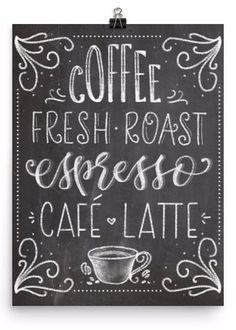 Chalkboard Coffee Fresh Roast Art Print - A coffee lovers' dream! Museum-quality posters made on thick, dura - Chalkboard Art Kitchen, Coffee Chalkboard, Chalkboard Art Quotes, Blackboard Art, Chalkboard Writing, Chalkboard Decor, Chalkboard Lettering, Chalkboard Designs, Chalkboard Print