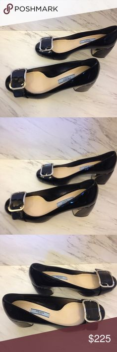 "Prada patent leather buckle heels/pumps Excellent condition! Hardly worn.  Rare, hard to find style!  Inside of heels are coated with silver. Approximately 2 1/4"" heel. A few very minor scuffs shown in last 2 pictures. Prada Shoes Heels"