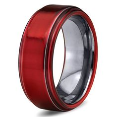 Red Titanium Wedding Band Ring - 8mm - Chroma Colored Wedding Band for Men  Women - e1737e5961b3