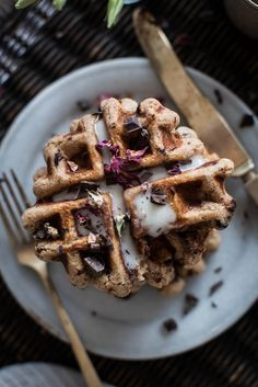 Vegan Chocolate Chip Rose Waffles