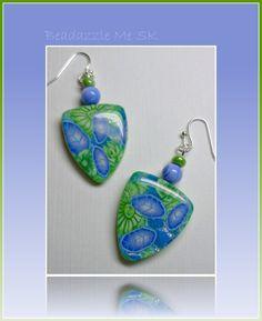 Lime & Periwinkle Flower Earrings, polymer clay jewelry. $10.00, via Etsy.