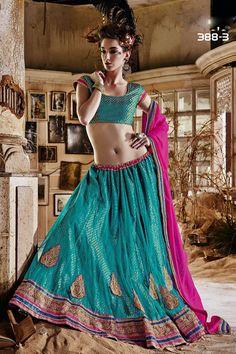 Designer Rama Green Wedding Wear Net Lehengha 388b