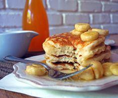 Chobani Pancakes with Caramelized Banana Syrup via @CakeStudent