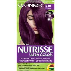 Garnier Nutrisse Ultra Color in 416 Intense Violet. Dark Purple Hair, Dyed Hair Purple, Hair Color Purple, Cool Hair Color, Dark Hair, Purple Hair Without Bleaching, Deep Burgundy Hair Color, Feria Hair Color, Pelo Color Borgoña