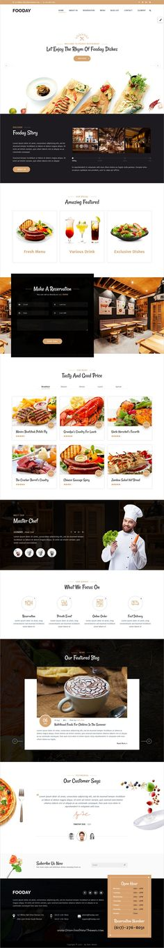 Fooday is clean and modern design 3+ responsive WordPress theme for fresh and luxury #restaurant #cafe and coffee shop website to live preview & download click on Visit  #webdesign