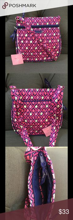 "NWT VERA BRADLEY PETITE DOUBLE ZIP HIPSTER Petite double zip hipster crossbody  Katalina pink diamonds pattern  Vera Bradley   8 1/4 W x 8 1/4 H x 1 1/4 D with 53"" adjustable strap  Smoke/pet free home Vera Bradley Bags Crossbody Bags"