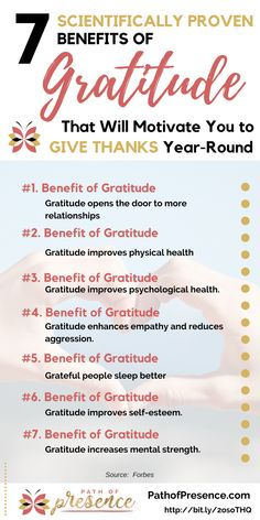 7 Scientifically Proven Benefits Of Gratitude That Will Motivate You To Give Thanks Year-Round :: Source:: Forbes :: Irrefutable Benefits of Gratitude that will improve your life :: Path of Presence  :: Reasons to Practice Gratitude