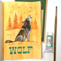 Wolf Journal Page by Angela Staehling in Strathmore 500 Series Mixed Media Art Journal