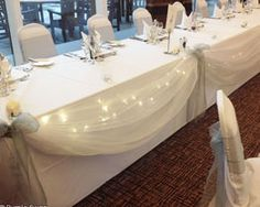 Table runner hire and top table swagging for hire in Cumbria, The Lake District and Lancashire. Hessian Table Runner, Lace Table Runners, Rose Garland, Lilac Wedding, Wedding Table, Wedding Ideas, Wedding Reception, Silk Roses, Cake Table