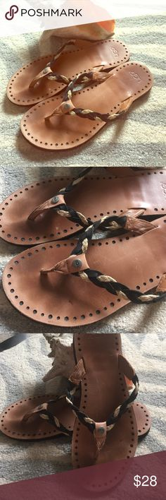 Ugg leather braided flip flop Wore for a week in Florida comfortable sandals UGG Shoes Sandals