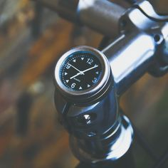Bicycle Stem Clock -- Fixation London, handlebars, cycling, chrome