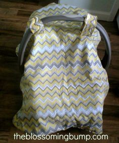 """carseat canopy DIY Tutorial (fabric needed is 30""""x34"""" + some for the velcro handle straps...)"""