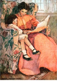This advanced cross stitch chart was created from a vintage illustration by Jessie Willcox Smith. The illustration is called A Rainy Day and was published in the book Dream Blocks in Reading Art, Woman Reading, Reading Club, Early Reading, Reading Time, Jessie Willcox Smith, Children's Book Illustration, American Illustration, Magazine Illustration