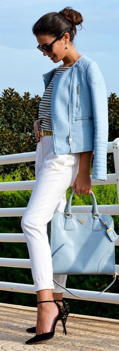 White and blue with blue leather bag