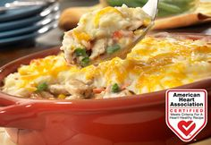 Here's a delicious twist on pot pie your family is sure to love! Chicken, veggies, cream of mushroom soup and instant mashed potato flakes transform into a mouth-watering dish that's irresistible! Heart-Check Certification does not apply to recipes or information reached through links unless expressly stated.