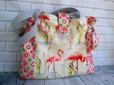 582604a034 Cotton Flamingo Tote bag - flamingo tote - shoulder bag - handmade - unique  Tote - women - teen girls by GerdaBags on Etsy