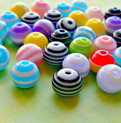 Striped Resin Colorful 8mm Bead Mix (N56-1oz)