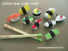 Pink and Green Mama: Cotton Ball Sushi Craft. Girl Scout Swap, Girl Scout Troop, Girl Scouts, Scout Leader, Hat Crafts, Crafts To Make, Crafts For Kids, Arts And Crafts, Food Crafts