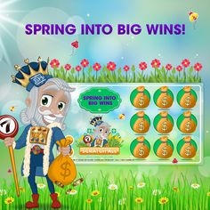 Make a minimum deposit on Friday April 14th 2017 of at least $25 using bonus code SPRING17 and you will receive a special Spring Into Big Wins scratch card with guaranteed wins up to $150 in Bonus Money!      Nature Smiles when it's Spring and King Cash smiles as he wishes players a Happy Spring filled with sunshine, fresh flowers and big wins at PlaySugarHouse.com!