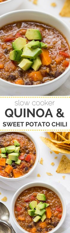 Nutrition Healthy Eating : Gluten Free Sweet Potato & Black Bean Quinoa Chili Made in a slow cooker! Crock Pot Recipes, Chili Recipes, Slow Cooker Recipes, Soup Recipes, Cooking Recipes, Slower Cooker Recipes Healthy, Beans Recipes, Lentil Recipes, Steak Recipes