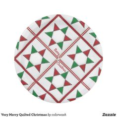 Very Merry Quilted Christmas Paper Plate - Spread cheer and good food with a classic quilting design in equally classic Christmas colors on paper plates for your holiday get-together! #quilts #Christmas
