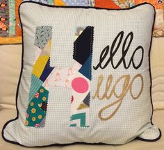 Personalised Hello patchwork detail by HandmadebyHolchester