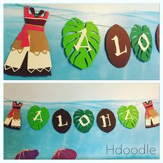 Moana Polynesian Banner cumpleaños fiesta coco hojas Luau