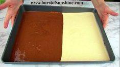 To Bake A Half Vanilla Half Chocolate Sheet Cake! – Burst of Sunshine How To Bake A Half Vanilla Half Chocolate Sheet Cake! – Burst of Sunshine, How To Bake A Half Vanilla Half Chocolate Sheet Cake! – Burst of Sunshine, Sheet Cake Recipes, Cake Recipes From Scratch, Cake Recipe For A Crowd, Vanilla Sheet Cakes, Chocolate And Vanilla Cake, Birthday Sheet Cakes, Sunshine Cake, Moist Banana Bread, Kraft Recipes