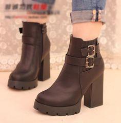 Buckled Chunky-Heel Ankle Boots - IYATO | YESSTYLE