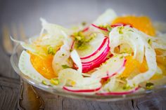 Fennel and Radish Salad with Oranges and Orange Blossom Water - deliciousfire.com Orange Blossom Water, Radish Salad, Orange Salad, Fennel, Breakfast, Desserts, Food, Morning Coffee, Tailgate Desserts