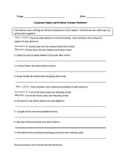 Compound Subject and Predicate Commas Worksheet Grades 9-12