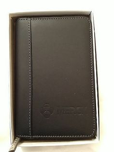 Leed's Organizer Leather Zip Around Portflolio Letterpad Black - New
