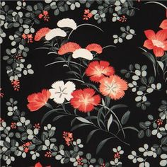 black Japanese flower fabric
