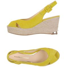 Paloma Barceló Espadrilles ($94) ❤ liked on Polyvore featuring shoes, sandals, yellow, leather sole shoes, yellow sandals, yellow wedge shoes, leather wedge sandals and leather buckle sandals